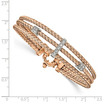Leslie's Sterling Silver Rose Gold-plated CZ Polished Woven Bracelet