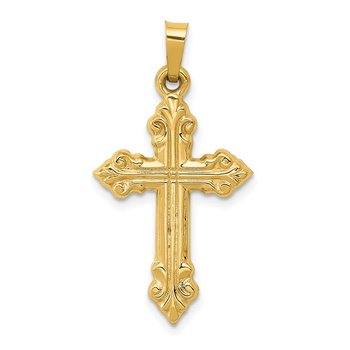 14k Brushed and Polished Budded Cross Pendant