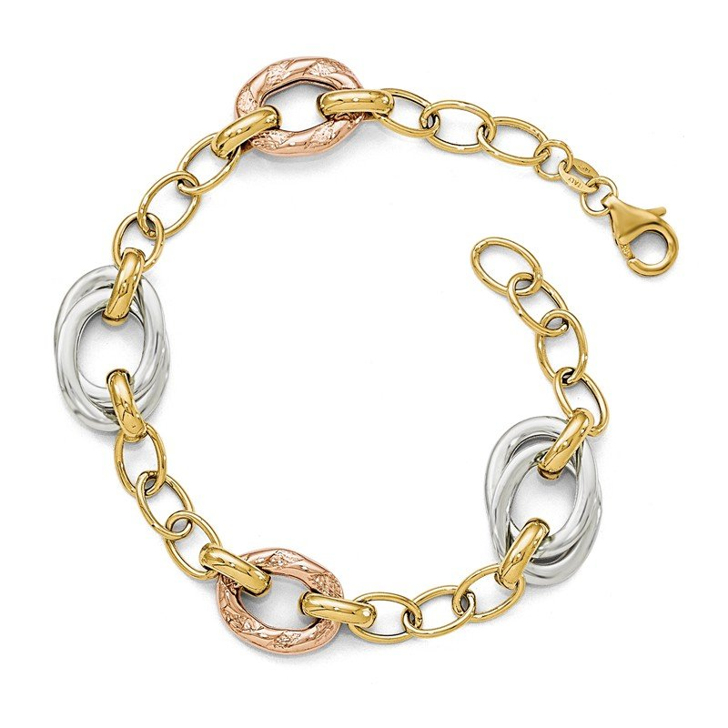 Leslie's Leslie's 14k Tri-color Polished Textured Fancy Link Bracelet