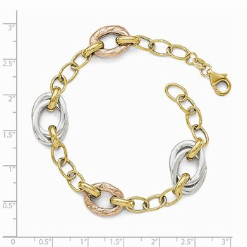 Leslie's 14k Tri-color Polished Textured Fancy Link Bracelet