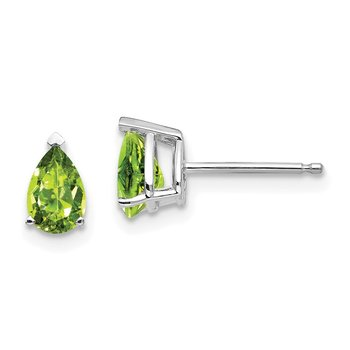 14k White Gold 6x4mm Pear Peridot Earrings