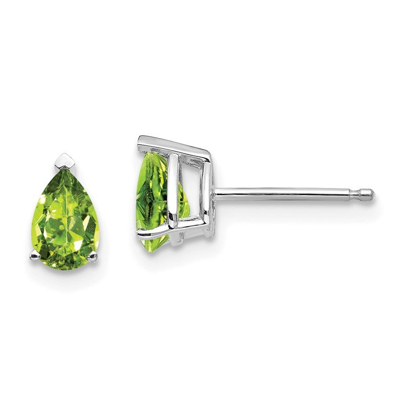 Quality Gold 14k White Gold 6x4mm Pear Peridot Earrings
