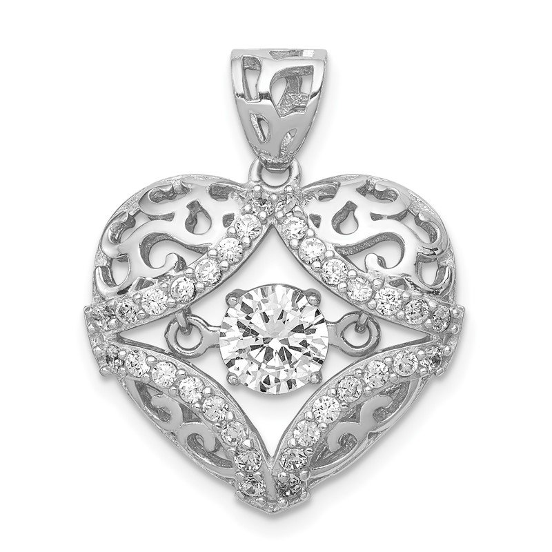 Quality Gold Sterling Silver Rhodium-plated Vibrant CZ Heart Pendant
