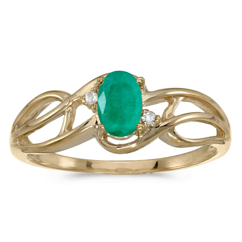 Color Merchants 14k Yellow Gold Oval Emerald And Diamond Curve Ring