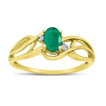 14k Yellow Gold Oval Emerald And Diamond Curve Ring