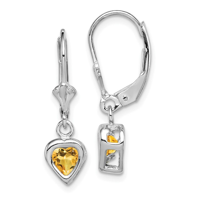 Quality Gold Sterling Silver Rhodium 5mm Heart Citrine Leverback Earrings