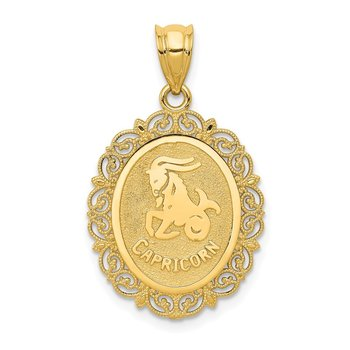 14k Solid Satin Polished Capricorn Zodiac Oval Pendant