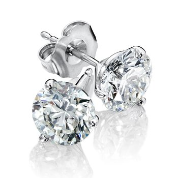 Three Prong Diamond Studs in 14k White Gold Screw-back posts (1/5ct. tw.)