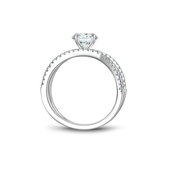 Modern Side-Stone Solitaire Engagement Ring