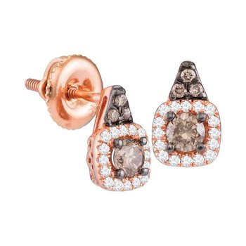 14kt Rose Gold Womens Round Cognac-brown Color Enhanced Diamond Solitaire Square Frame Earrings 3/8 Cttw