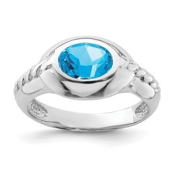 Sterling Silver Rhodium-plated Blue Topaz Ring