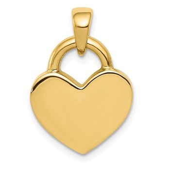 14k & Rhodium Hollow Polished 3D Reversible Heart Charm