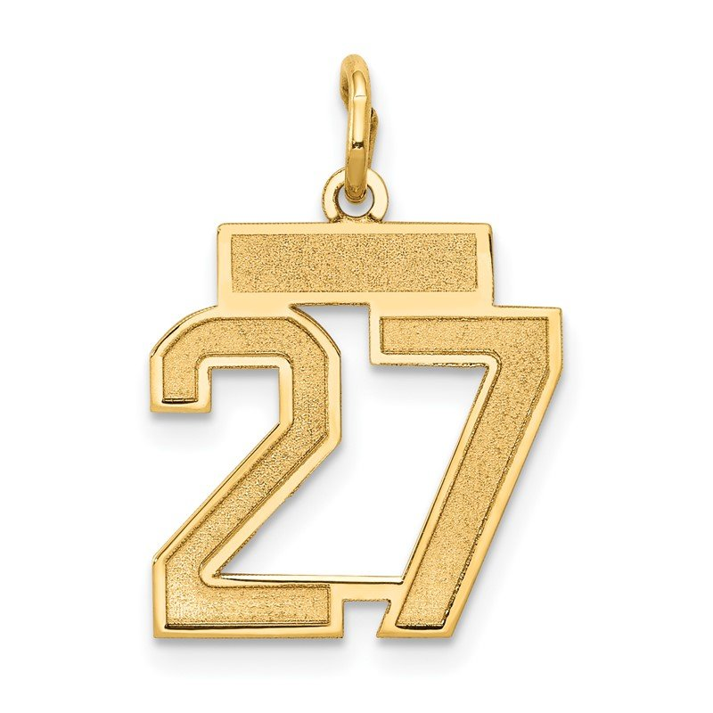 Quality Gold 14k Small Satin Number 27 Charm