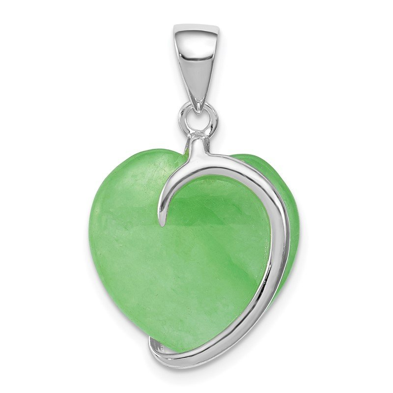 Quality Gold Sterling Silver Green Jade Heart Pendant