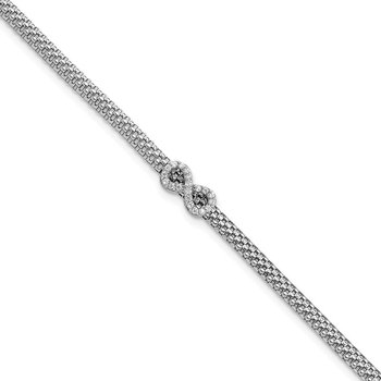 Sterling Silver Mesh Chain Inifinity CZ Bracelet