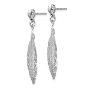 Leslie's Sterling Silver Rhodium-plated Leaf Post Dangle Earrings