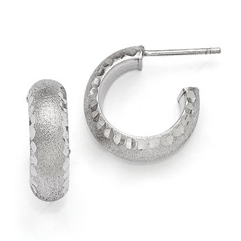 Leslie's SS Radiant Essence Rhodium-plated Post Hoop Earrings
