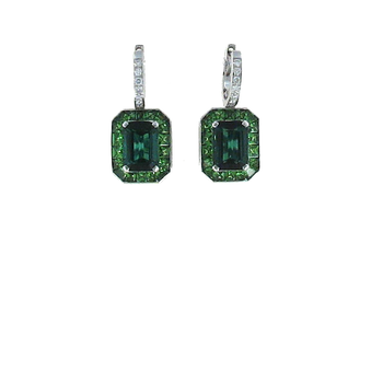 18Kt White Gold Earrings With Diamonds, Green Tourmaline And Green Tsavorite