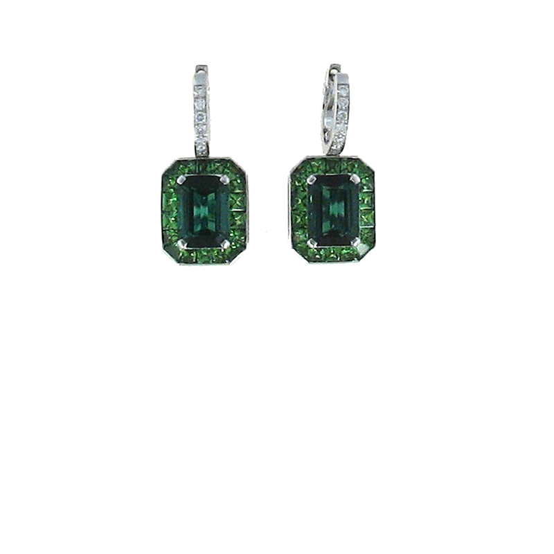 Roberto Coin 18Kt White Gold Earrings With Diamonds, Green Tourmaline And Green Tsavorite