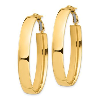 14k High Polished 7mm Omega Back Oval Hoop Earrings