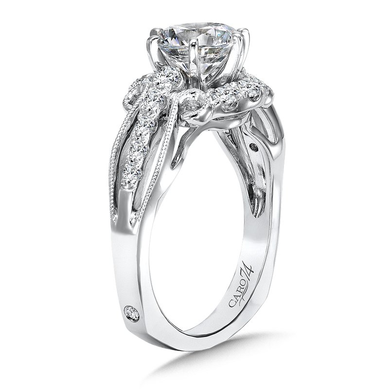 c38cf0eaf9557e Stock # CR499W. Caro74 Engagement Ring With Six-Prong Center and Side  Stones in 14K White Gold with. Caro74 Engagement ...