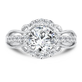 Engagement Ring With Six-Prong Center and Side Stones in 14K White Gold with Platinum Head (1-1/2ct. tw.)