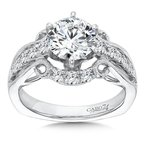 Caro74 Engagement Ring With Six-Prong Center and Side Stones in 14K White Gold with Platinum Head (1-1/2ct. tw.)