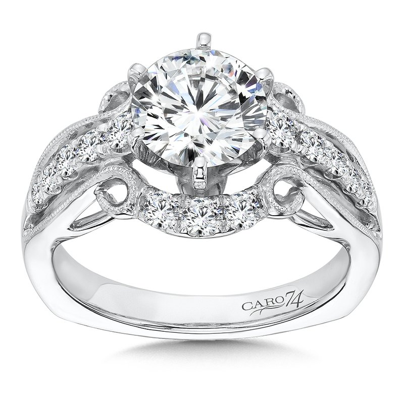 1a1eef5c23bbc0 ... Caro74 Engagement Ring With Six-Prong Center and Side Stones in 14K  White Gold with