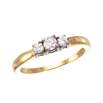 14k Yellow Gold 0.25 Ct Three Stone Diamond Ring