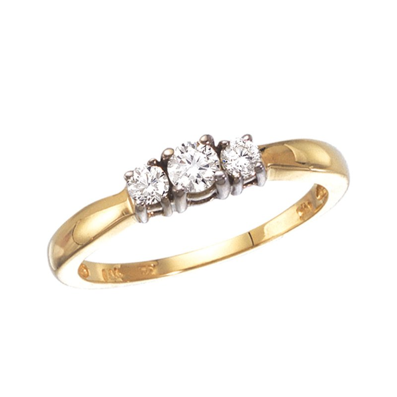 Color Merchants 14k Yellow Gold 0.25 Ct Three Stone Diamond Ring