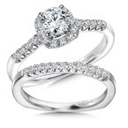 Valina Bridals Cushion shape halo mounting .18 ct. tw., 1/2 ct. round center.