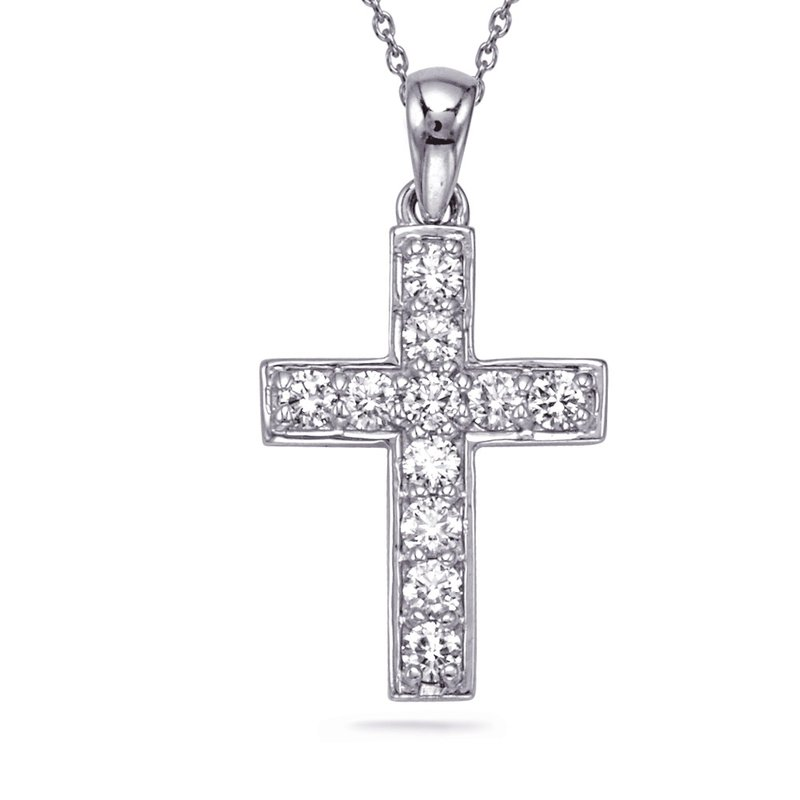 S. Kashi  & Sons White Gold Diamond Cross Pendant