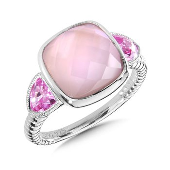 Sterling Silver Rose Mother of Pearl Fusion & Pink Sapphire Ring