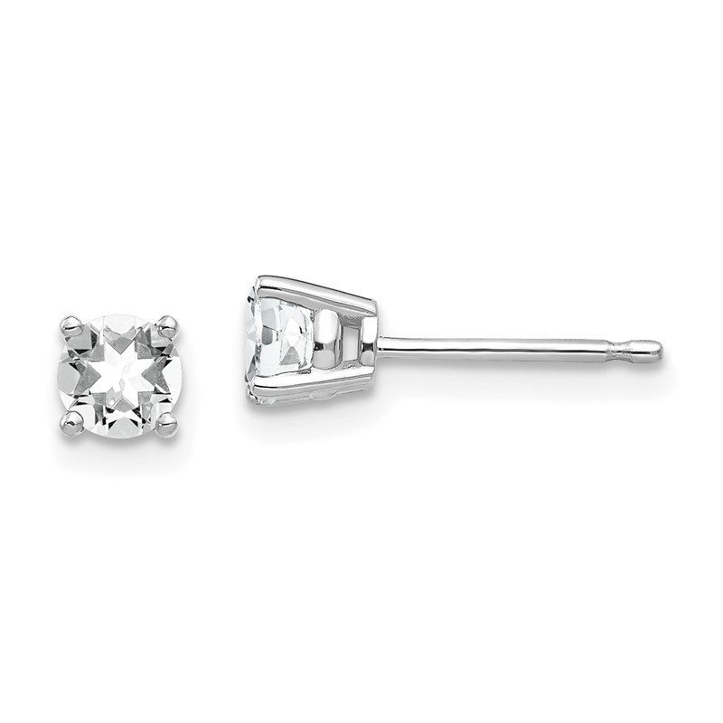 Quality Gold 14k White Gold 4mm Cubic Zirconia Earrings