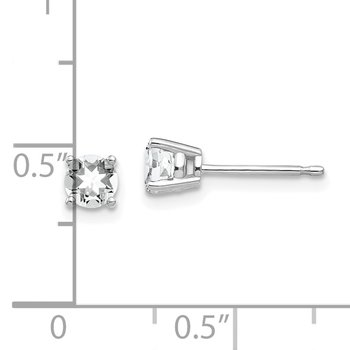 14k White Gold 4mm Cubic Zirconia Earrings