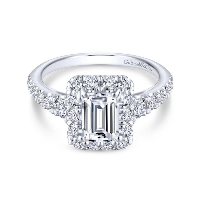 Gabriel Catalog 14K White Gold Halo Emerald Cut Diamond Engagement Ring
