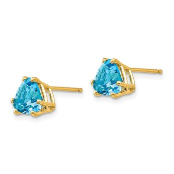 14k 7mm Trillion Blue Topaz Earrings