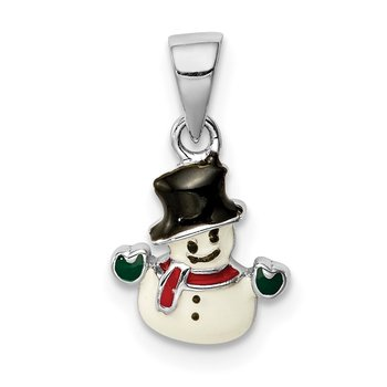Sterling Silver Rhodium-plated Childs Enameled Snowman Pendant