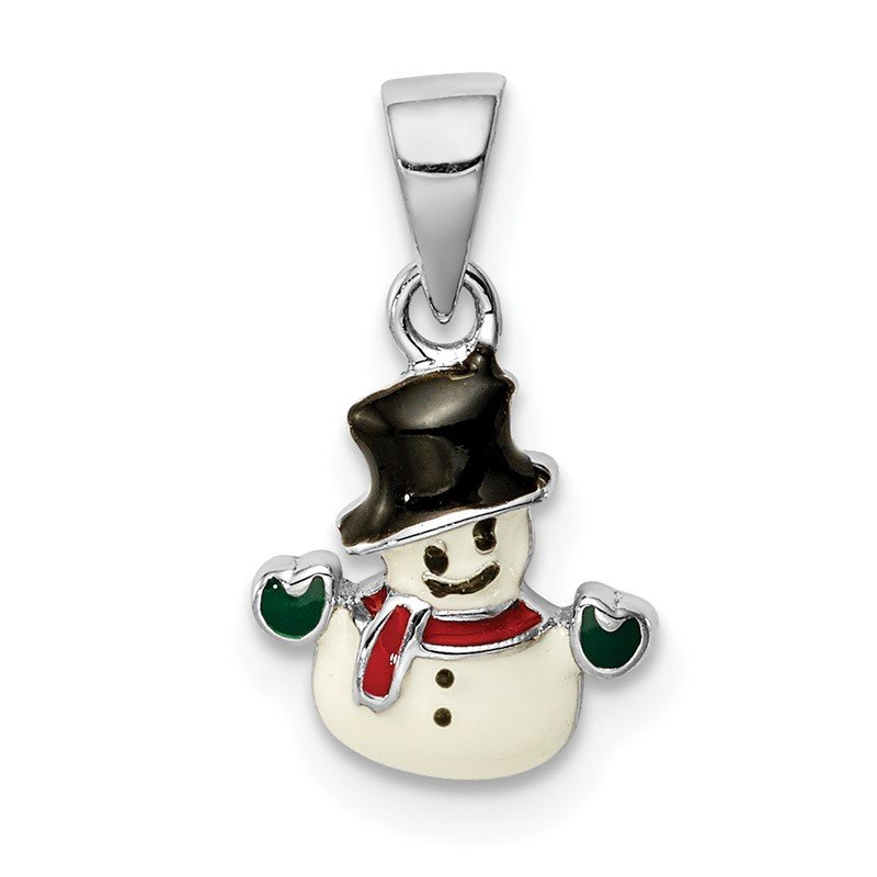 Quality Gold Sterling Silver Rhodium-plated Childs Enameled Snowman Pendant