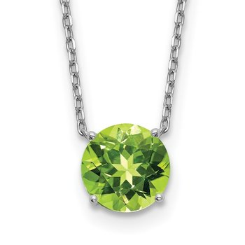 Sterling Silver RH Plated Green Swarovski Crystal w/2in ext Necklace