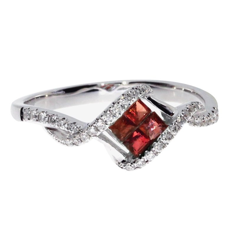 Color Merchants 14k White Gold Ruby Princess Fashion Ring