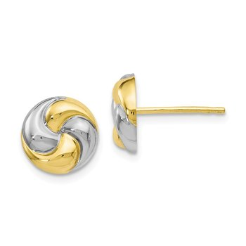 Leslie's 10K & Rhodium Polished Love Knot Earrings