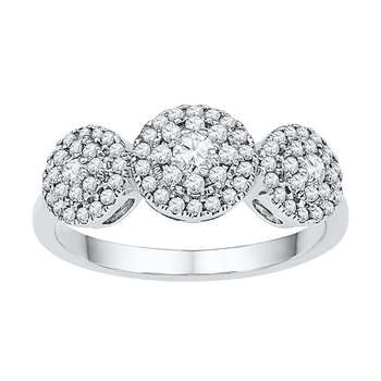 10kt White Gold Womens Round Diamond Triple Cluster Fashion Ring 1/2 Cttw