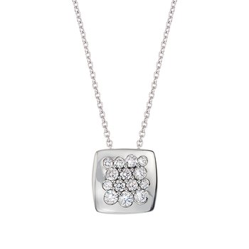 White Gold Diamond 11mm Square Tango Pendant