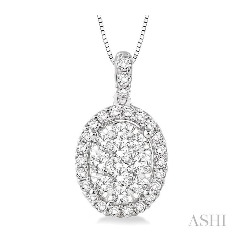 Crocker's Collection oval shape lovebright diamond pendant