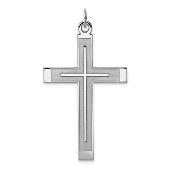 Sterling Silver Rh-plated Satin & Polished Laser Designed Cross Pendant