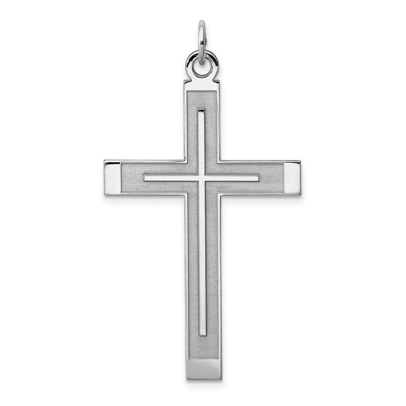 Quality Gold Sterling Silver Rh-plated Satin & Polished Laser Designed Cross Pendant