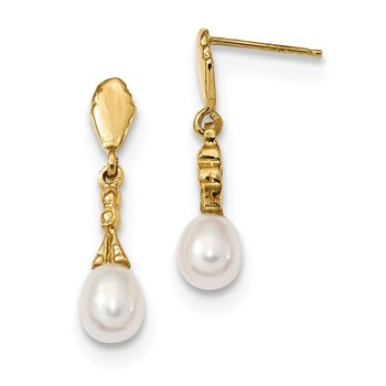 14k 5-6mm White Teardrop Freshwater Cultured Pearl Dangle Post Earrings