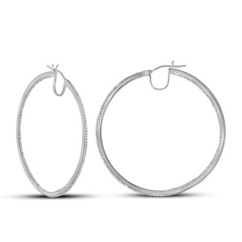 10kt White Gold Womens Round Diamond Hoop Earrings 3/4 Cttw