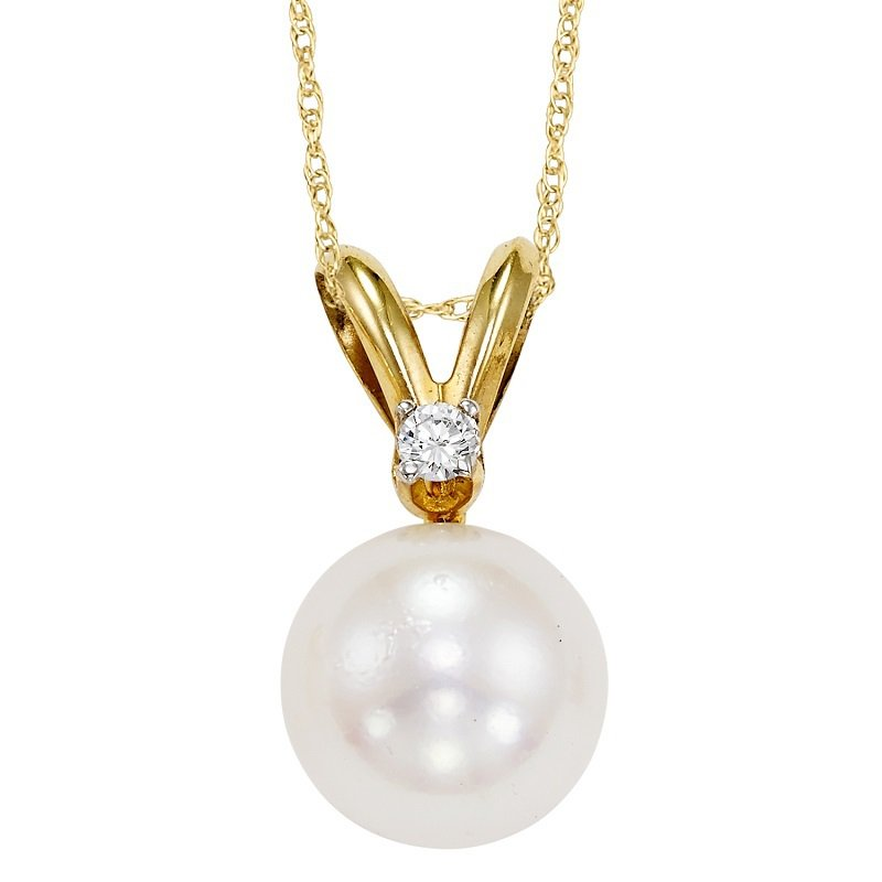 Gemsone Cultured Pearl & Diamond Pendant 8.5 mm